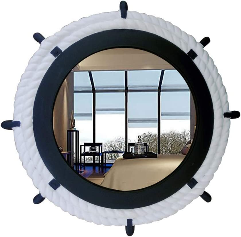 HLWJXS Mirror Wall Inventory cleanup selling sale New Shipping Free Make up Style Round Mirrors Blu Mediterranean