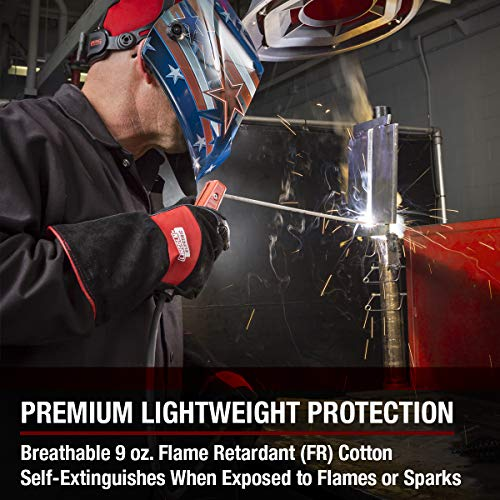 Lincoln Electric Premium Flame Resistant (FR) Cotton Welding Jacket | Comfortable | Black | Large | K2985-L