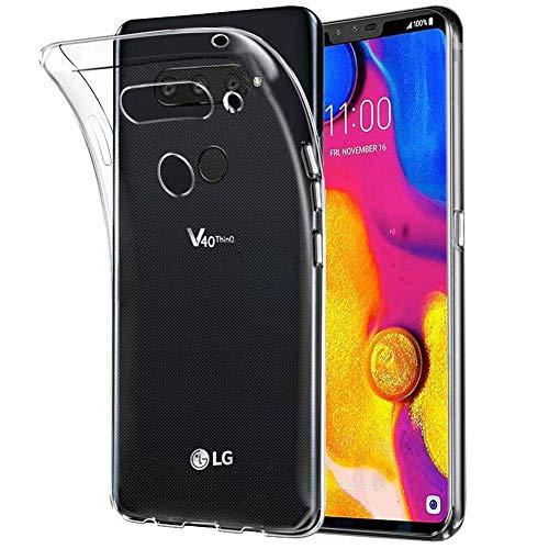 König Design Handy-Hülle Kompatibel mit LG V40 ThinQ durchsichtige Schutz-Hülle Transparent Silikon Slim Case Plastik Cover durchsichtig