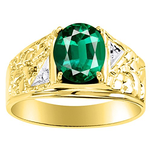 Para hombre verde esmeralda y diamante anillo banda de plata o chapado en oro amarillo