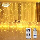 LED Luces de Cadena de Cortina, 3x3M 300 Con 8 Modos Mando a Distancia cadena de cortina de cobre USB Para Ambientes de Bodas al Aire Libre, Navidad,