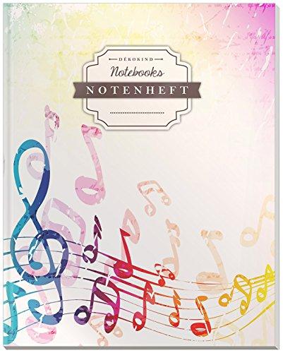 DÉKOKIND Notenheft | DIN A4, 64 Seiten, 12 Notensysteme pro Seite, Inhaltsverzeichnis, Vintage Softcover | Dickes Notenbuch | Motiv: Bunte Musiknoten