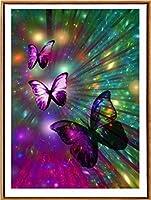 クロスステッチ刺繍 キット40x50cm DIY 光沢のある蝶 初心者刺しゅうキット11CTプリント済みキャンバスクロスステッチの布刺繍キット手作り家具の装飾