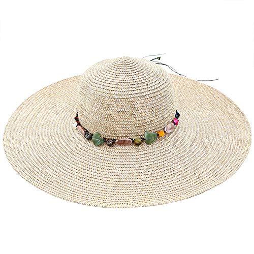 TREESTAR Sombrero plegable de verano con cadena de piedra para decorar la cúpula de la campana o el sol, 1 pieza, paja, caqui, 55-58 cm