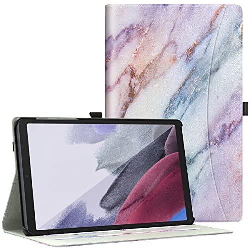 Dadanism Custodia Compatibile con Samsung Galaxy Tab A7 Lite 8.7 Pollici 2021 (SM-T225 / SM-T220), Cover in PU Pelle con Tasca e Supporto di Multi-Angoli, per Galaxy Tab A7 Lite, Marmo Viola