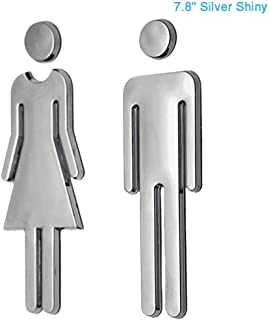 RJWKAZ Acrylic Adhesive Backed Men's and Women's Bathroom Sign 7.8