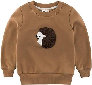 PANCY 秋冬 子供服 長袖 Tシャツ キッズ トレーナー 男の子 女の子 厚手 裏起毛 シンプル 動物柄