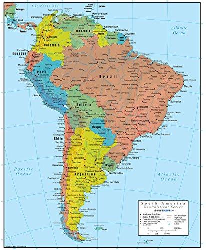 Swiftmaps South America Wall Map GeoPolitical Edition (18x22 Laminated)