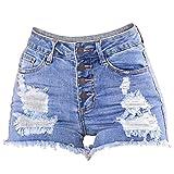 Holywin Trou Mince pour Femmes Délavé Mini Jeans Court Denim Pantalons Short