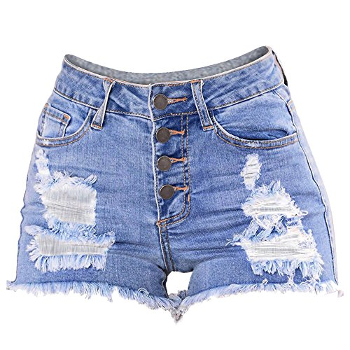 NPRADLA Damen Hot Pants Sommer Slim Washed Ripped Hole Short Mini Jeans Taschen Damen Denim Button Tape Shorts