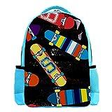 Backpack for Kids Boys Girls Travel Backpack Waterproof Stripes Skate Board Kids Bag with Side Pockets