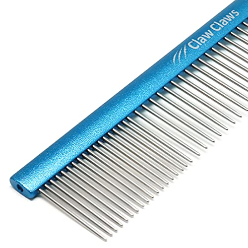 Claw Claws Greyhound Comb with Oval Handle for Dogs and Cats, Removing and Shedding Matted, Tangled Hair, Metal Comb with Stainless Steel Pins, Detangling Grooming Tool, Pet Comb (20% Fine Spacing)…