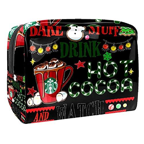 Neceser de Maquillaje Estuche Escolar para Cosméticos Bolsa de Aseo Grande,Hornee Cosas Vamos a Beber Cacao Calientes películas de Navidad
