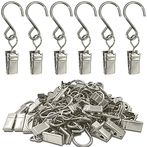 AMZSEVEN Stainless Steel S Hooks Curtain Clips, 50 Pack Hanging Party Lights Clips, Hangers Gutter Photo Camping Tents, Art Craft Display, Garden Courtyards Indoor Outdoor Decoration. (Silver)