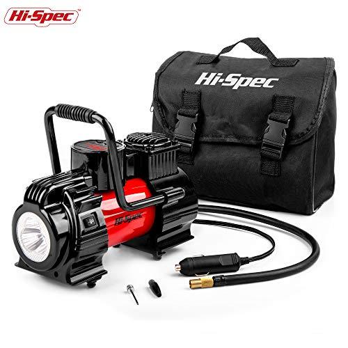 Hi-Spes Hochleistungs-tragbare 12V-Kompressorpumpe, Digital-LED-Anzeige, maximaler Druck von 120 PSI und 3 Adapter zum Aufblasen von Autoreifen