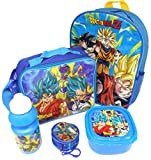 Dragon Ball Z Set De Regalo Mochila + Billetera + Bolsa Aislante + Botella Para Beber + Caja De Almuerzo - Licenciado Oficialmente - Backpack Purse Lunch Bag Sports Bottle Sandwich Box - Gift Bundle