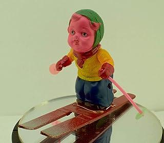 オキュパイド 占領下 JAPAN可愛い女の子スキーヤーセルロイドゼンマイ仕掛け完動