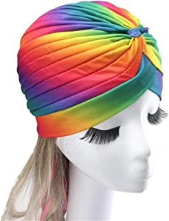 Turban Hat Concise Solid Color Pleated Ethnic Style Bohemia Style Chemo Cap Hair Wrap Women Turban for Women Church Praying Autumn