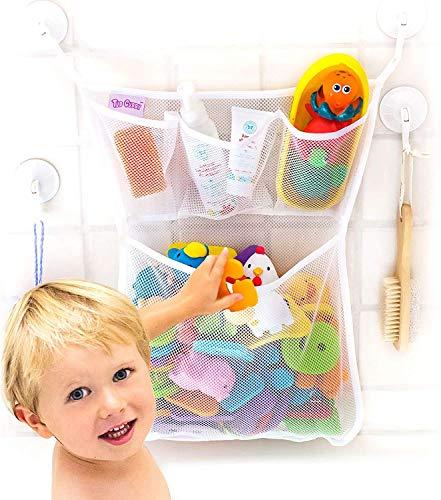 Tub Cubby Bath Toy Organizer + Ducky - Mold Resistant Mesh Net Bin - Baby Bathtub Game Holder with Suction & Sticker Hooks Toddler Play Bathroom Storage Tray Bag Shower Caddy - Kids CPSIA Safety Award