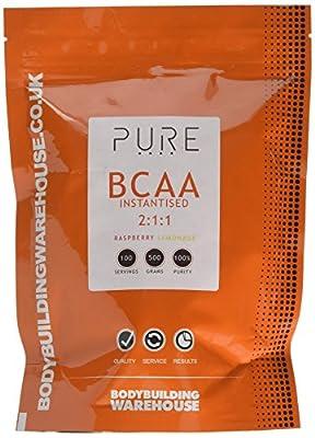 Bodybuilding Warehouse Pure iBCAA 2:1:1 (Instantised Branch Chain Amino Acid) Powder (Raspberry Lemonade, 500g)