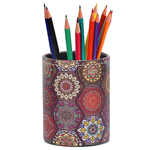 LIZIMANDU PU Leather Pencil Pen Holder,Round Pencil Cup Stationery Desk Organizer Control Storage Box for Home Office Bedroom(1 Pack,1-Hexagonal Boho)