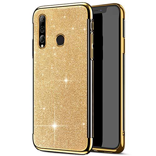 JAWSEU Compatible avec Huawei P Smart Plus 2019/Enjoy 9S Coque Silicone TPU Brillant Bling Glitter Cristal Clair Housse Slim Placage Souple Gel Paillettes Strass Case Femme Fille,Or