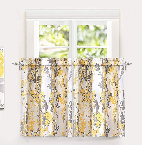DriftAway Leah Abstract Floral Blossom Ink Painting Room Darkening Kitchen Tier Window Treatment 2 Panels Each Size 26 Inch by 36 Inch Plus 2 Inch Header Golden Yellow Gray