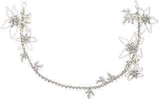 Minkissy Bride Hair Band Hollow Flower Crystal Rhinestone Inlaid Exquisite Elegant Hair Hoop Hair Band Headdress for Girls Lady Women (Silver)