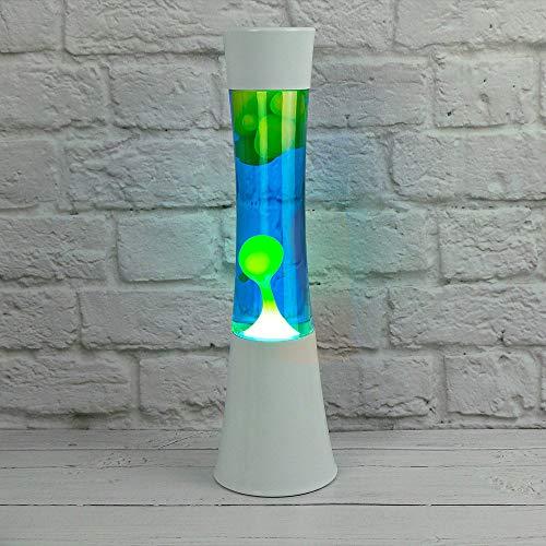 The Glowhouse La dicha de Movimiento lámpara de Lava líquida Azul Cera Base Blanca Verde