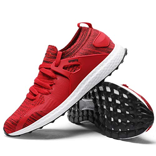 Ahico Mens Walking Shoes Fashion Sneakers Oxford Casual Slip On Knit Mesh Fitness Shoe for Running Jogging Tennis Gym Sports Red