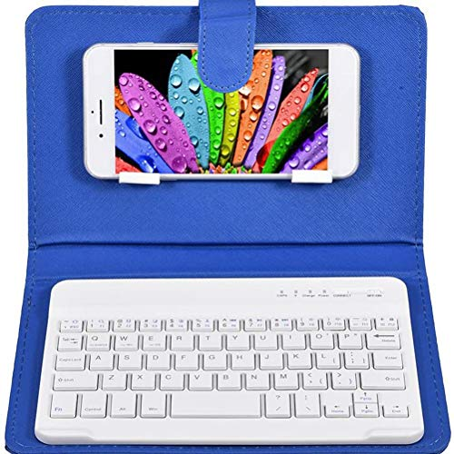 FEIDAjdzf Portable Wireless Bluetooth Keyboard with Leather Case Cover for 4.5-6.8 inch iOS Android and Windows Smart Phones