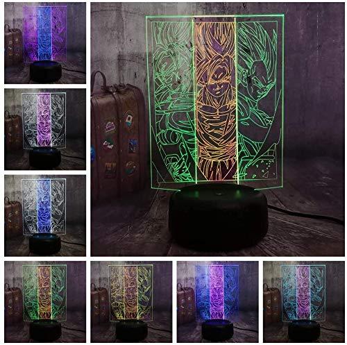 Anime Action Figuren 3D illusie 7 kleuren optische lamp LED bedlampje met USB-kabelversterker; afstandsbediening kinderen verjaardag Kerstmis