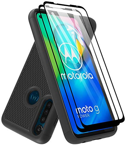 Moto G Power Case with Tempered Glass Screen Protector [2 Pack], Dahkoiz Armor Defender Cover Motorola Moto G Power Case Dual Layer Hybrid Protective Phone Case for Motorola Moto G Power 2020, Black