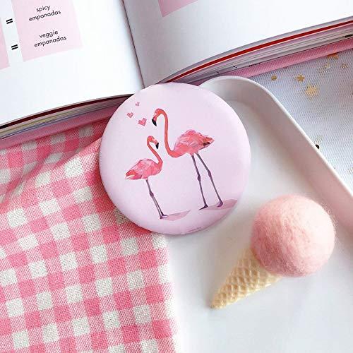 RoxTop Mini Makeup Compact Taschenspiegel beweglicher Kosmetikspiegel Frauen Kosmetikspiegel Netter Karikatur-Spiegel Kleines Geschenk Rosa