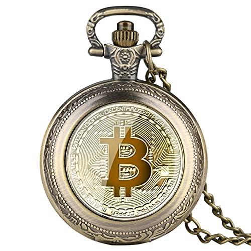 SSJIA Reloj de Bolsillo de Cuarzo de réplica de rublos de Monedas físicas de Bitcoin chapadas Retro-Bronce Retro