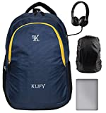 KLIFY 31 litres Blue Laptop Backpack with rain Cover - School Bag College