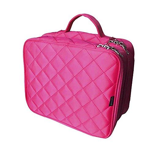 Preisvergleich Produktbild Yoolin Makeup Case,  2 Schicht Tasche Professionelle Kosmetik Make-up Tasche Organizer,  Zubehör Fall,  Werkzeuge Fall mit Tragegriff für Reisen & Home Black / Red / Pink.25*20*12cm,  Red