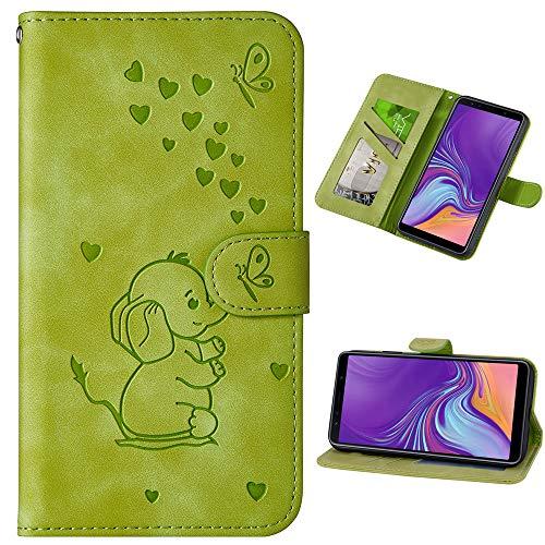 Capa carteira XYX para iPhone Xs Max 6,5 polegadas, [elefante amor em relevo] capa protetora flip de couro PU com compartimentos para cartão para meninas/mulheres, verde
