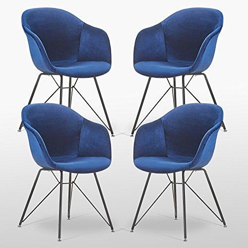 VALENTINA - Lot de 4 Chaises Scandinaves en Velours Bleues - Style Vintage - Salle à Manger, Cuisine, Bureau