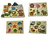Gerileo Lote de 4 Puzzles de Animales 3D de Madera para Bebes niños y niñas – Rompecabezas Montessori Juego Educativo – Puzzle de Mar, establo, Selva y Gusanos
