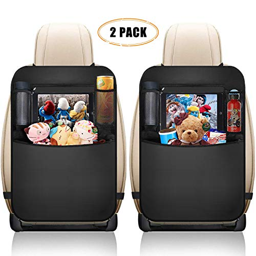 "XBRN Car Backseat Organizer Kick Mats, Car Seat Back Protectors with Clear 10"" Tablet Holder + 3 Storage Pockets Back seat Organizer for Kids Toy Bottle Drink Vehicles Travel Accessories (2 Pack)"