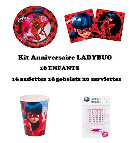 Miraculous Ladybug Set festa 52 pezzi , party, compleanno, decorazione per 16 bambini (16 piatti, 16 bicchieri, 20 tovaglioli + 10 candele magiche offerte)