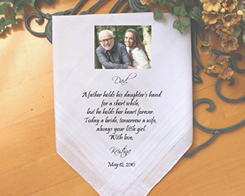 Father of the Bride handkerchief, PRINTED with PHOTO option, a father holds his daughter, your little GIRL, Dad Gift,Personalized. MS2FPRIS by Snugahug[175]