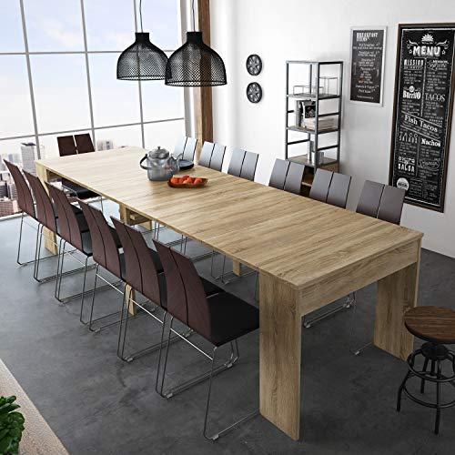 SelectionHome - Mesa de Comedor Consola Extensible hasta 301 cm, Acabado Roble Claro, Medidas Cerrada: 90x49x75 cm de Alt
