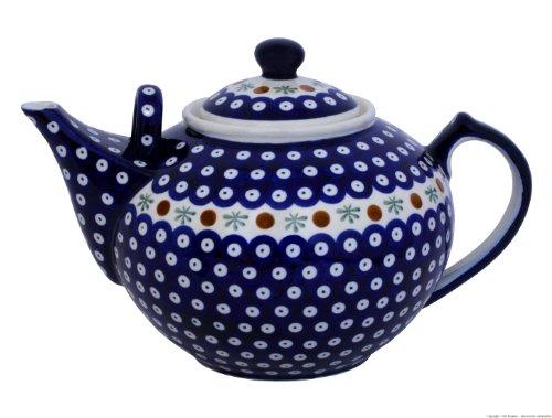 Original Bunzlauer Keramik - sehr große Teekanne/Kaffeekanne - 2.9 Liter mit zweitem Henkel im Dekor 41