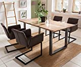 SalesFever Essgruppe Baumkanten-Tisch aus Akazie und Armlehnstühle Gaia Tisch 200x100 cm + 8 dunkelbraune Stühle, Naturfarben/Silber
