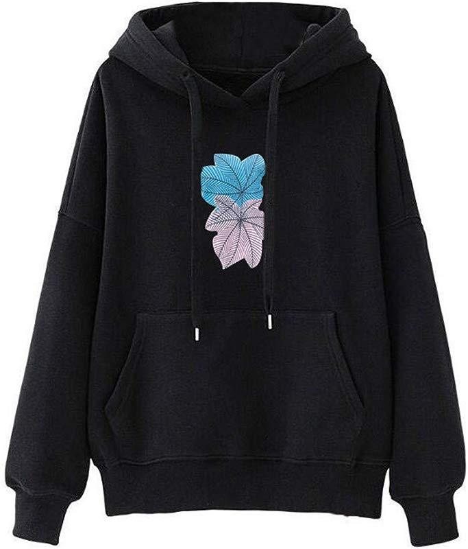 Redacel Womens Girl Long Sleeve Print Pullover Hooded Sweatshirt Tops Blouse For Teen