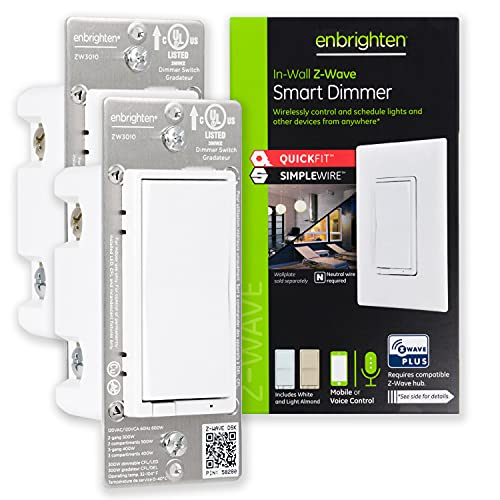 Enbrighten Z-Wave Smart Rocker Light Dimmer with QuickFit and SimpleWire, 3-Way, Works with Alexa, Google Assistant, ZWave Hub Required, Repeater/Range Extender, White & Light Almond, 2-Pack, 47898
