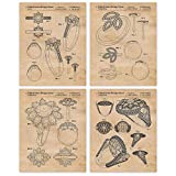 Vintage Harry Winston Jewelry & Wedding Ring Patent Poster Prints, Set of 4 (8x10) Unframed Photos, Great Wall Art Decor Gifts Under 12 for Home, Office, Student, Teacher, Fashion Designer & Fan