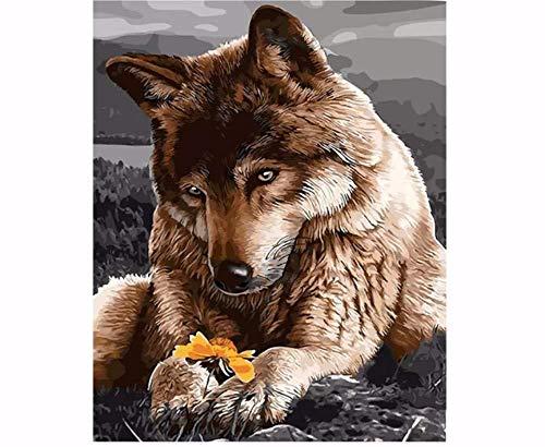 MEEKIS Wolf Tiere DIY Digital Malen Nach Zahlen Wandkunst Bild Acryl Zeichnung Malen Nach Zahlen Für Wohnkultur 40X50cm-With Frame